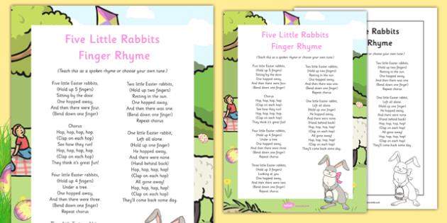 Five Easter Rabbits Finger Rhyme - Easter, song, rhyme, five little rabbits, finger rhyme, rabbits