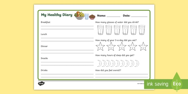 Healthy Living Diary Record Sheet - healthy living, healthy