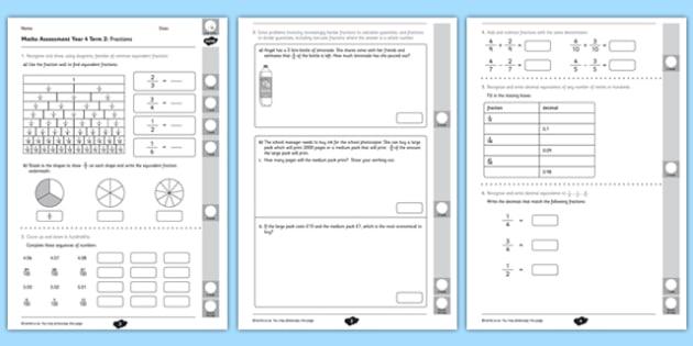 Year 4 Maths Assessment: Fractions Term 2 - year 4, maths