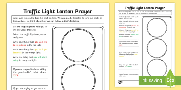 Traffic Light Lenten Prayer Worksheet / Activity Sheet - NI