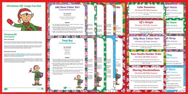 EYFS Christmas Elf Maths Scenarios Resource Pack
