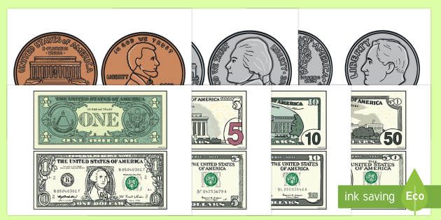 Toy Money Cut Outs : Us money coins and bills cut outs coin dollar bill