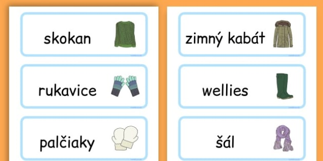 Winter Clothes Word Cards - winter clothes, word cards, winter, clothes - Slovak