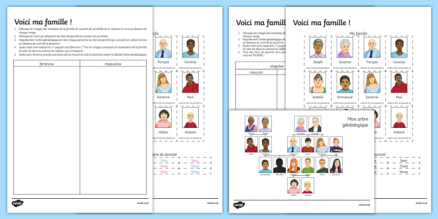 Black and White Here Is My Family Worksheet French