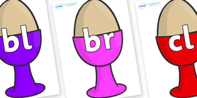 Initial Letter Blends on Egg Cups - Initial Letters, initial letter, letter blend, letter blends, consonant, consonants, digraph, trigraph, literacy, alphabet, letters, foundation stage literacy