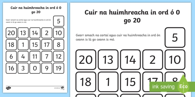 Ordering Numbers from 0 to 20 Activity Sheet Gaeilge -  Gaeilge, Irish, ordering, numerals, numbers, digits, zero to twenty, 0, 20, cutting, sticking, math