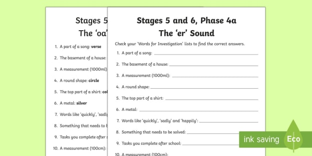 Northern Ireland Linguistic Phonics Stage 5 and 6 Phase 4a, 'er' Sound Word Work Activity Sheet - Linguistic Phonics, Stage 5, Stage 6, Phase 4a, Northern Ireland, 'er' sound, word work, anagram
