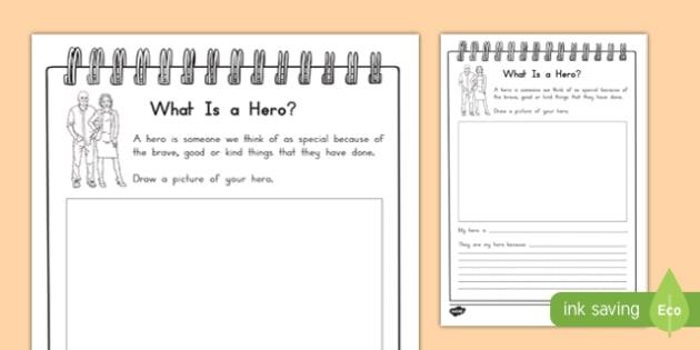 My Hero Writing Activity Sheet , worksheet