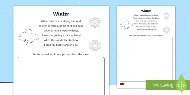 Illustrate A Winter Poem Activity Storm Wet Season Draw