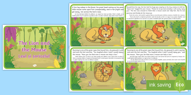 picture about The Lion and the Mouse Story Printable identified as The lion and the mouse lesson method