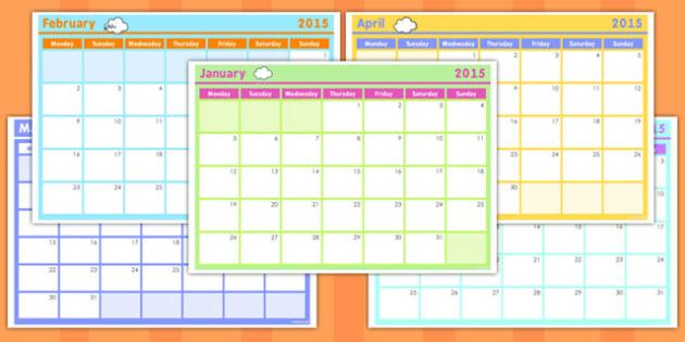Editable Monthly Calendar Planning Template 2015