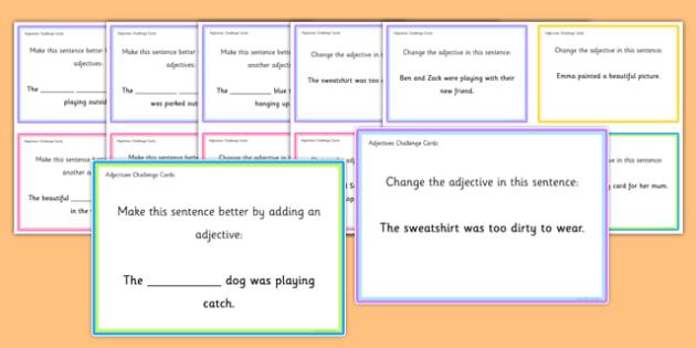 Adjectives Challenge Cards - roi, irish, gaeilge, english, sentence level, adjectives, reading, game