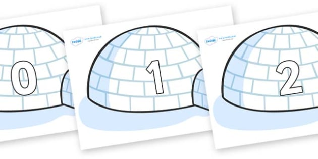 Numbers 0-50 on Igloos - 0-50, foundation stage numeracy, Number recognition, Number flashcards, counting, number frieze, Display numbers, number posters