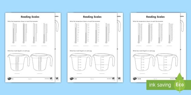 Year 2 Maths Reading Scales Homework Worksheet Activity Sheet