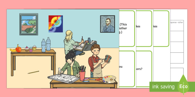 Art Lesson Scene Blanks Level 2 Questions - receptive language, expressive language, verbal reasoning, language delay, language disorder, comprehension, autism