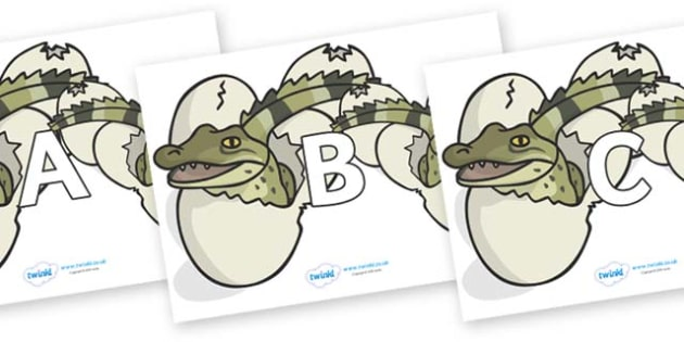 A-Z Alphabet on Hatching Aligators - A-Z, A4, display, Alphabet frieze, Display letters, Letter posters, A-Z letters, Alphabet flashcards