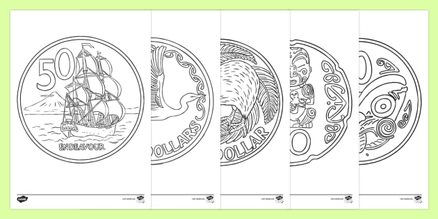 nz coins colouring page new zealand maths coins kiwi money colouring. Black Bedroom Furniture Sets. Home Design Ideas