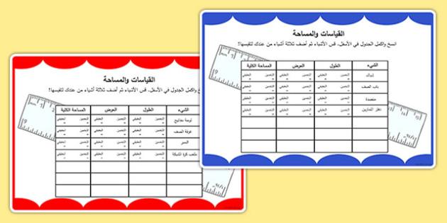 جدول المساحة والقياسات - القياس، المساحة، هندسة، رياضيات، حساب