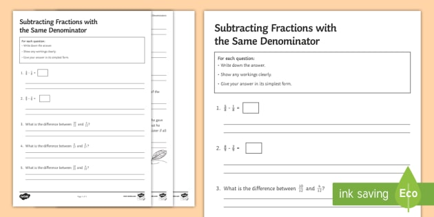 subtracting fractions with the same denominator worksheet  subtracting fractions with the same denominator worksheet  worksheet   four operations addition numerator