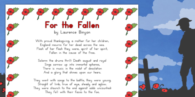 Remembrance Day Poem For The Fallen A4 - australia, remembrance