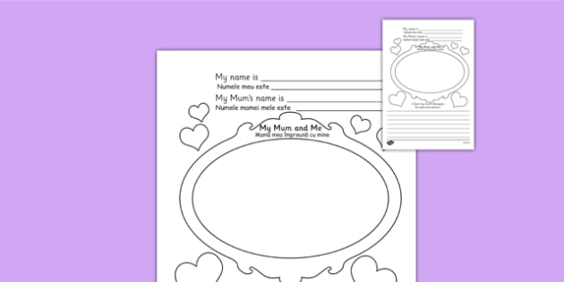 Mother's Day Worksheet Romanian Translation - romanian, worksheets, worksheet, work sheet, mothers day, mother's day, mothers day sheet, I love my mum because, me and my mum, sheets, activity, writing frame, filling in, writing activity