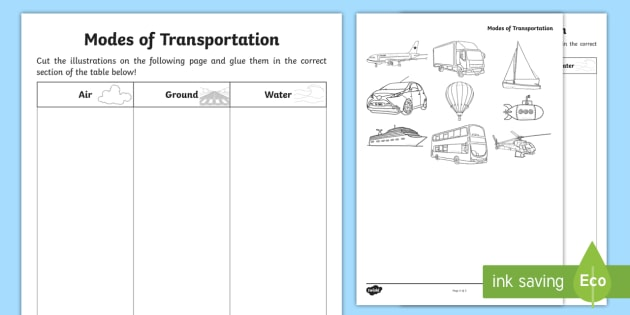 Modes Of Transportation Cut And Glue Worksheet / Worksheet