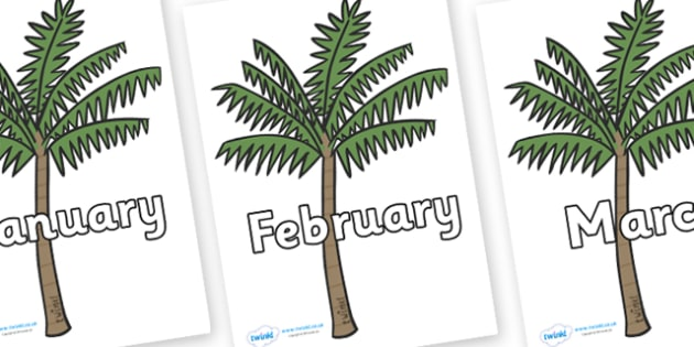 Months of the Year on Palm Trees - Months of the Year, Months poster, Months display, display, poster, frieze, Months, month, January, February, March, April, May, June, July, August, September