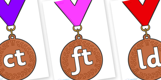 Final Letter Blends on Bronze Medal - Final Letters, final letter, letter blend, letter blends, consonant, consonants, digraph, trigraph, literacy, alphabet, letters, foundation stage literacy