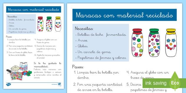 Instrucciones Paso A Paso Maracas Maracas Actimel Leche Fermentada