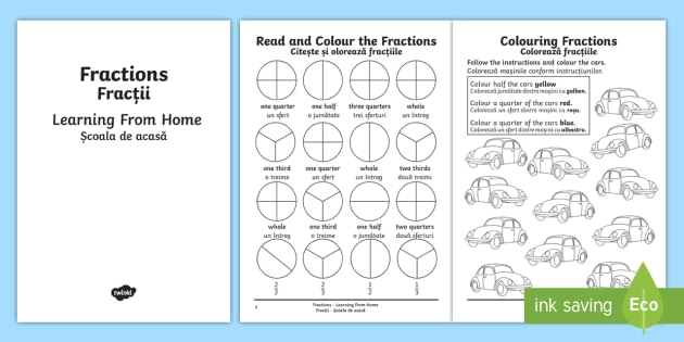 year 2 fractions learning from home maths activity booklet english romanian. Black Bedroom Furniture Sets. Home Design Ideas