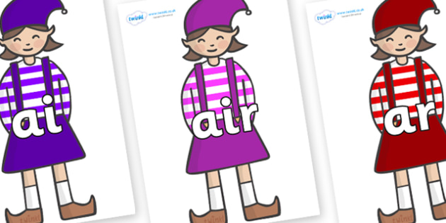 Phase 3 Phonemes on Elf (Girl) - Phonemes, phoneme, Phase 3, Phase three, Foundation, Literacy, Letters and Sounds, DfES, display