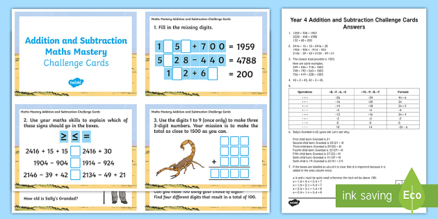 Maths Mastery Year 4 Addition And Subtraction Challenge Cards