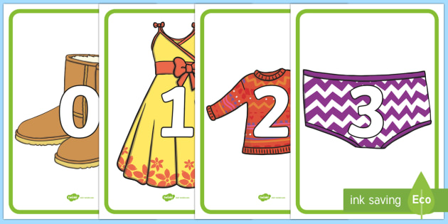 Numbers 0 - 20 on Clothing - numbers, 0-20, clothes, clothing