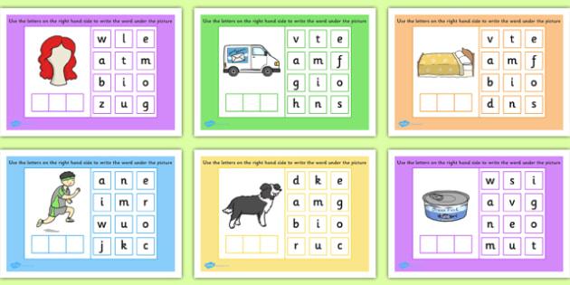 CVC Words Mixed Spelling - cvc, words, mixed, spelling, spell