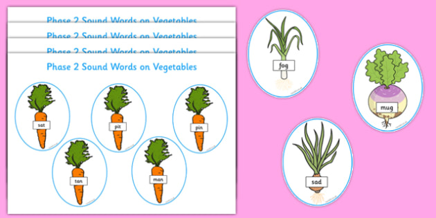 Phase 2 Sound Words on Vegetables Word Cards