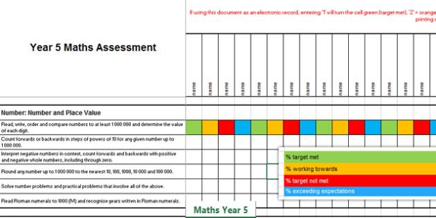 2014 Curriculum Year 5 Maths Assessment Term 1 Spreadsheet - numeracy