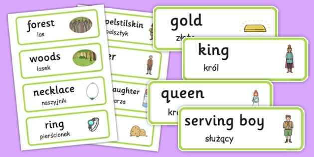 Rumpelstiltskin Word Cards Polish Translation - polish, rumpelstiltskin, word cards
