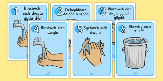 Posteri 'Sut i Olchi Eich Dwylo' - welsh, wash, hands, posters, display, clean, health