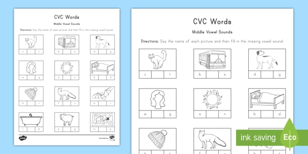 Cvc Words Middle Vowel Sounds Worksheet Early Childhood