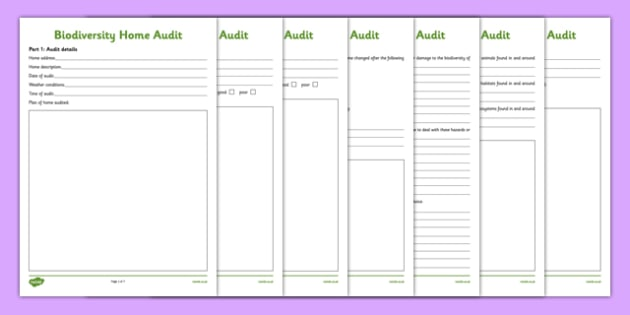 Biodiversity Home Audit Worksheet / Activity Sheet - biodiversity, home, audit, worksheet / activity sheet, action plan, green schools, worksheet