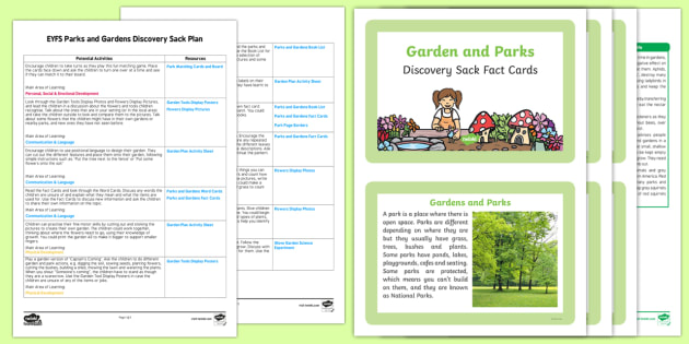 EYFS Parks and Gardens Discovery Sack Plan and Resource Pack - discovery sack, parks, gardens