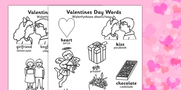 Valentine's Day Words Colouring Sheets Polish Translation - polish