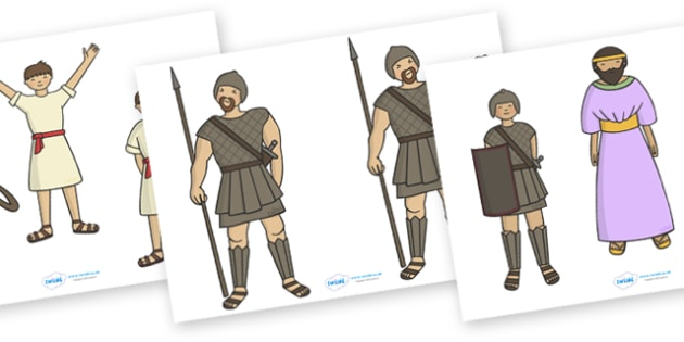David and Goliath Stick Puppets - David and Goliath, David, King Saul, Goliath, story, story book, story sequencing, story resources, stick puppet, Philistine army, Israelite, sling, stones, sling and stones, death, kill, small, giant, clever