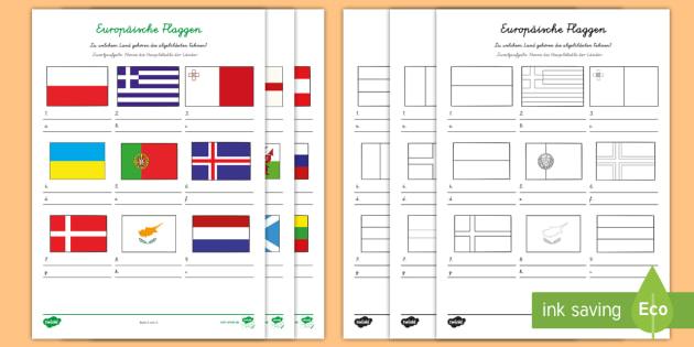 europ ische l nder und ihre flaggen arbeitsbl tter europa europ ische. Black Bedroom Furniture Sets. Home Design Ideas