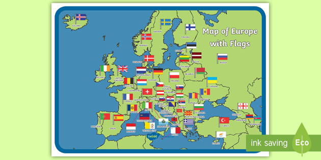 Map of Europe with Flags Display Poster - Map of Europe ...