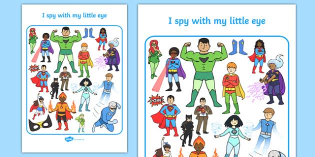 Superhero Themed I Spy With My Little Eye Activity Sheet - i spy with my little eye, i spy, activity, superhero, worksheet