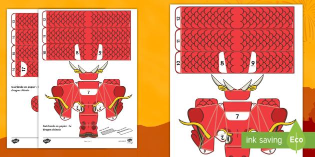 feuille d 39 activit s guirlande en papier le dragon chinois. Black Bedroom Furniture Sets. Home Design Ideas