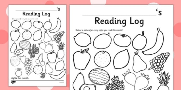 Fruit Themed Colour In Reading Log - monitor, diary, record, home learning, independent, early years, ks1, key stage 1, reward, award, english, books, library