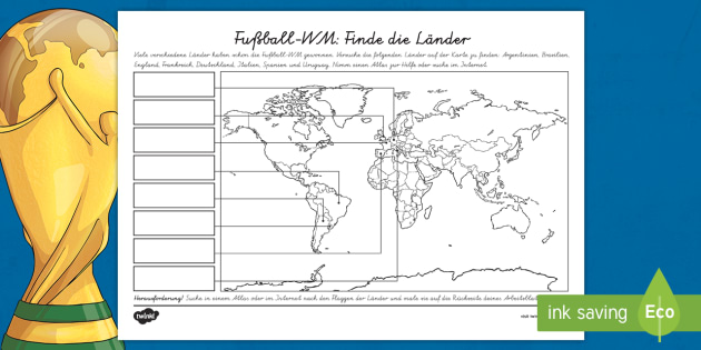NEW * Fußball-WM: Teilnehmerländer Arbeitsblatt - Fußball