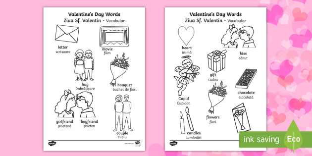 Valentines Day Words Colouring Sheet EnglishRomanian